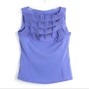 Nara Camicie periwinkle pleated front sleeveless 1